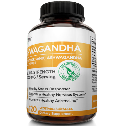 NutriFlair Ashwagandha with Organic Black Pepper (Made with Certified Organic Ashwagandha), 120 Veggie Capsules