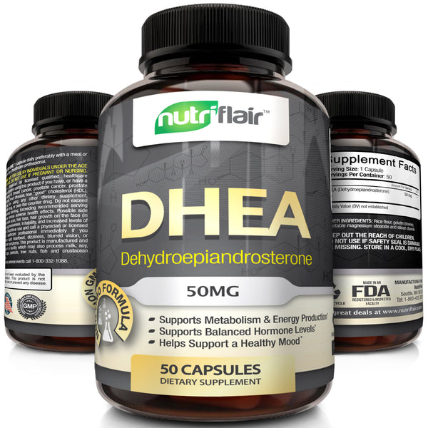 NutriFlair DHEA 50 MG Supplement, 50 Capsules