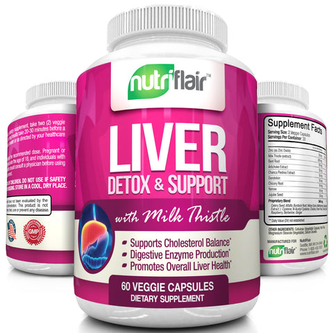 NutriFlair Liver Detoxifier and Support with Milk Thistle, 60 Capsules