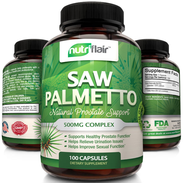NutriFlair Saw Palmetto Capsules - Natural Prostate Health Support, 100 Capsules