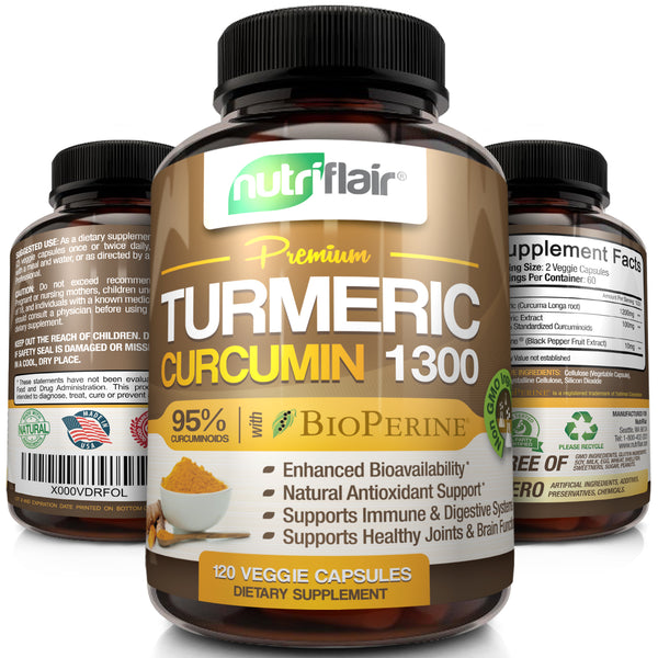 NutriFlair Turmeric Curcumin with BioPerine (Black Pepper Fruit Extract) - 1300 mg (120 Veggie Capsules)