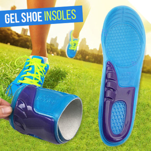 2 Pairs of Massaging Gel Shoe Insoles for Men and Women
