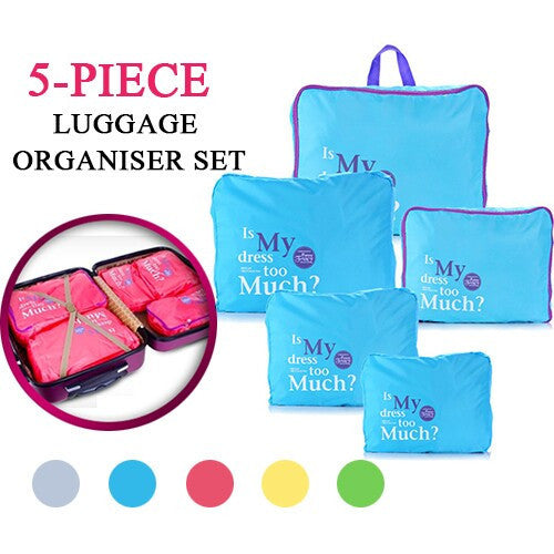 5-Piece Travel Luggage Organiser Set-5 Colours