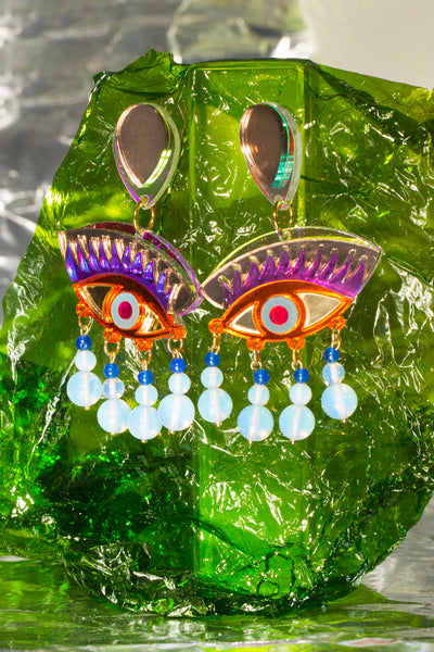 Unique glass beads eye earrings