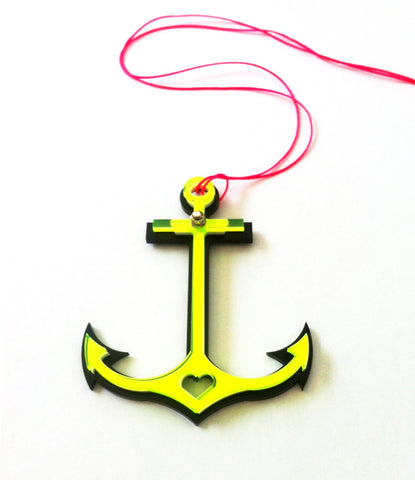 20% OFF!! Anchor necklace in black/fluo lime colour!