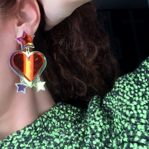 Unique Heart orange  earrings