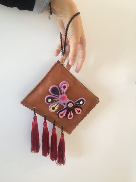 Leather Clutch | Rain Forest