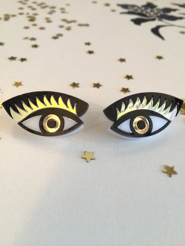 """Eye on you"" small gold earrings"