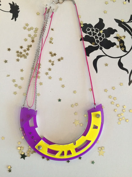 Abstract purple/yellow necklace