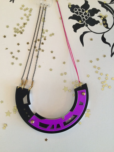 Abstract purple/black necklace