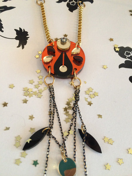 Moon necklace orange.