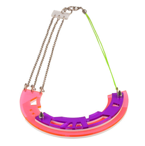 Abstract Necklace in pink/purple