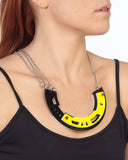 Abstract Necklace in black/yellow