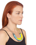 Abstract necklace in cyan/yellow