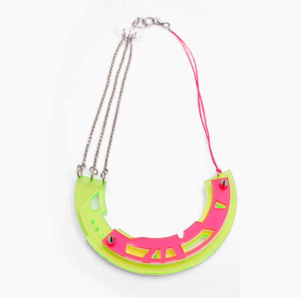 Abstract necklace in Lime/Pink colours
