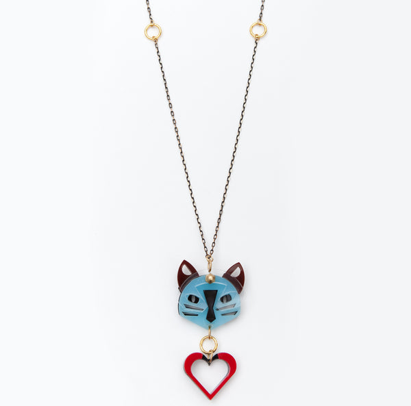 35% OFF!! Cat necklace in blue