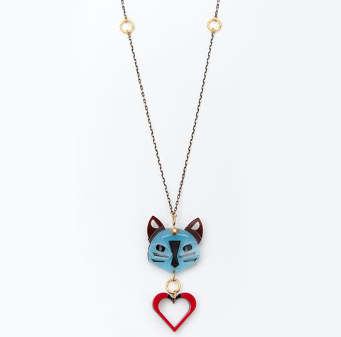 Cat necklace in blue