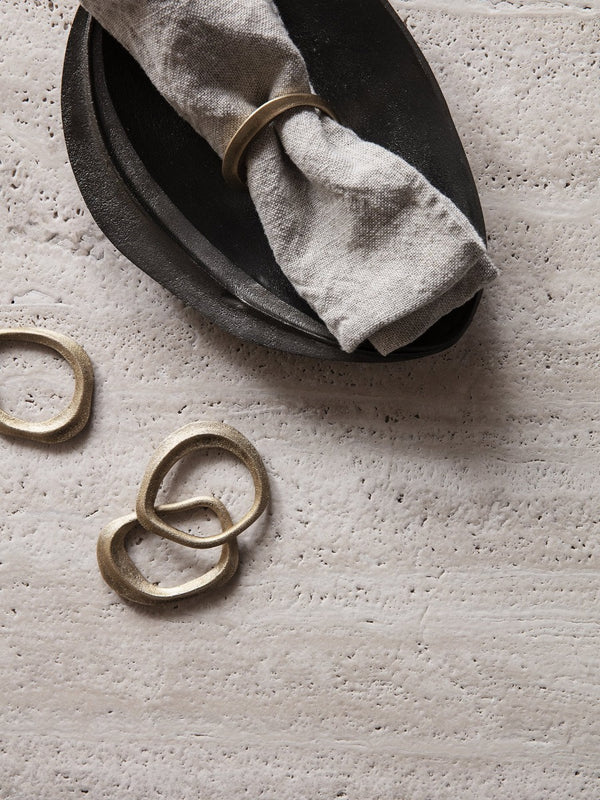 ferm living flow napkin rings brass set of 4