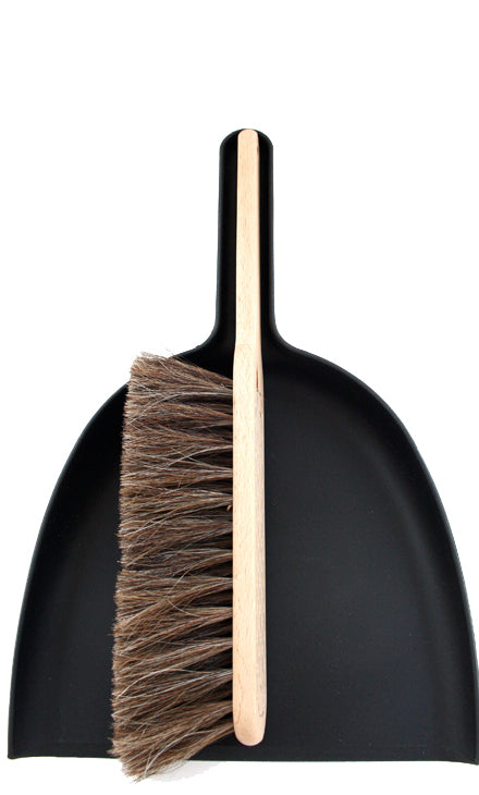 iris dustpan & brush set black