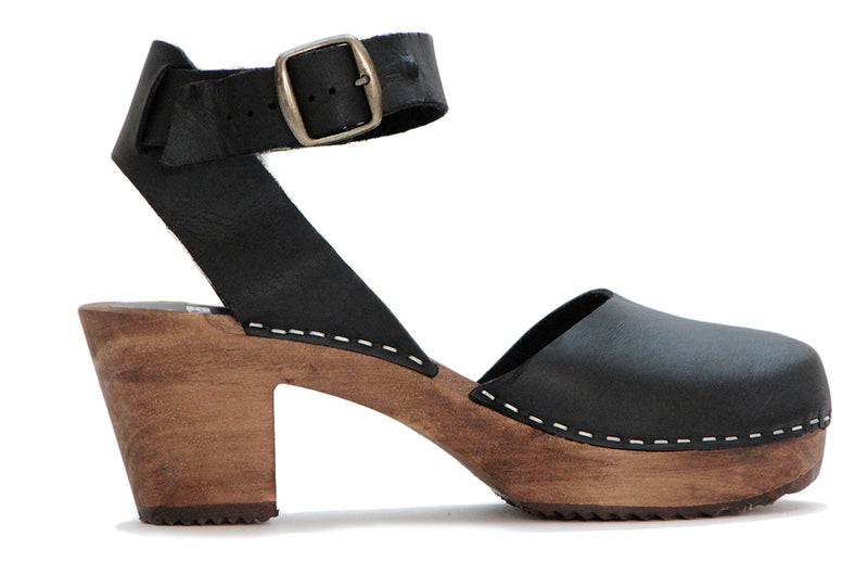 910 ester clog high black with brown base