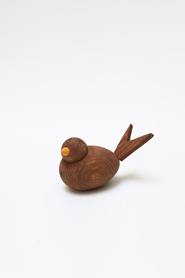 wooden bird 8cm brown