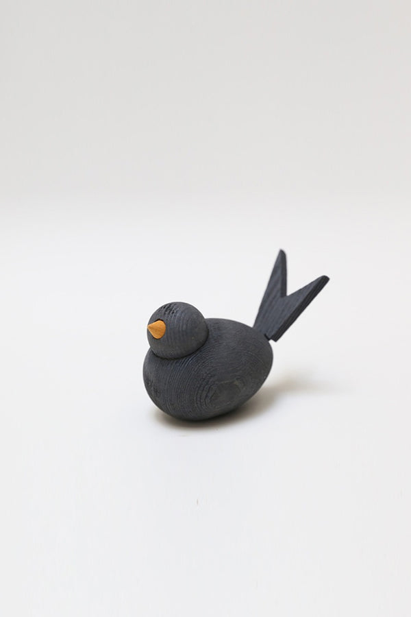 wooden bird 8cm grey