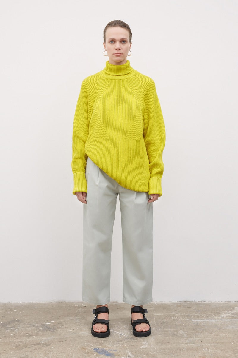 kowtow henri roll neck jumper acid yellow