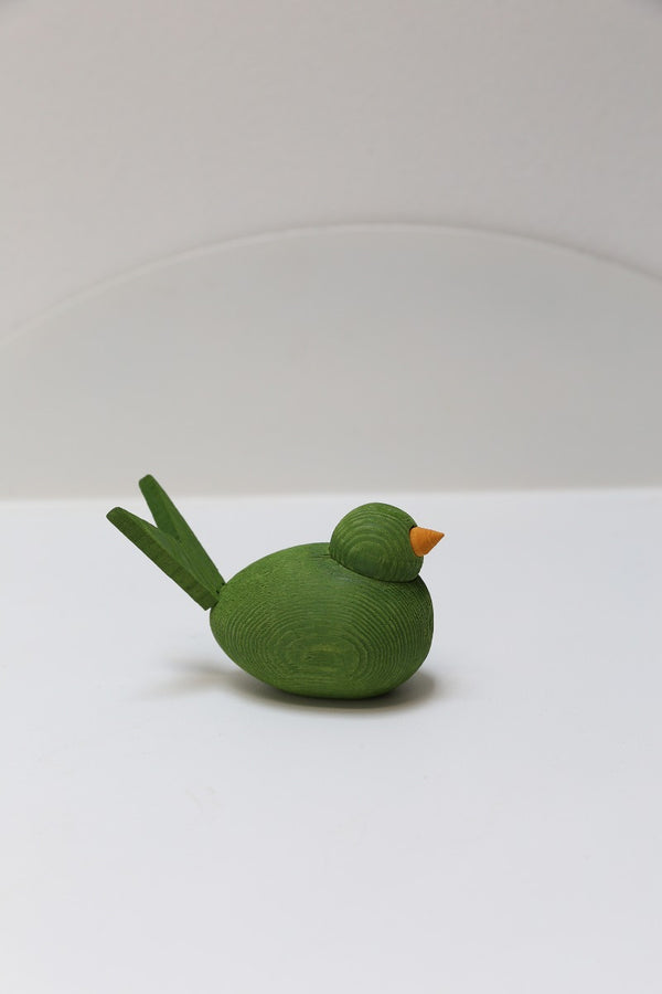 wooden bird 8cm green