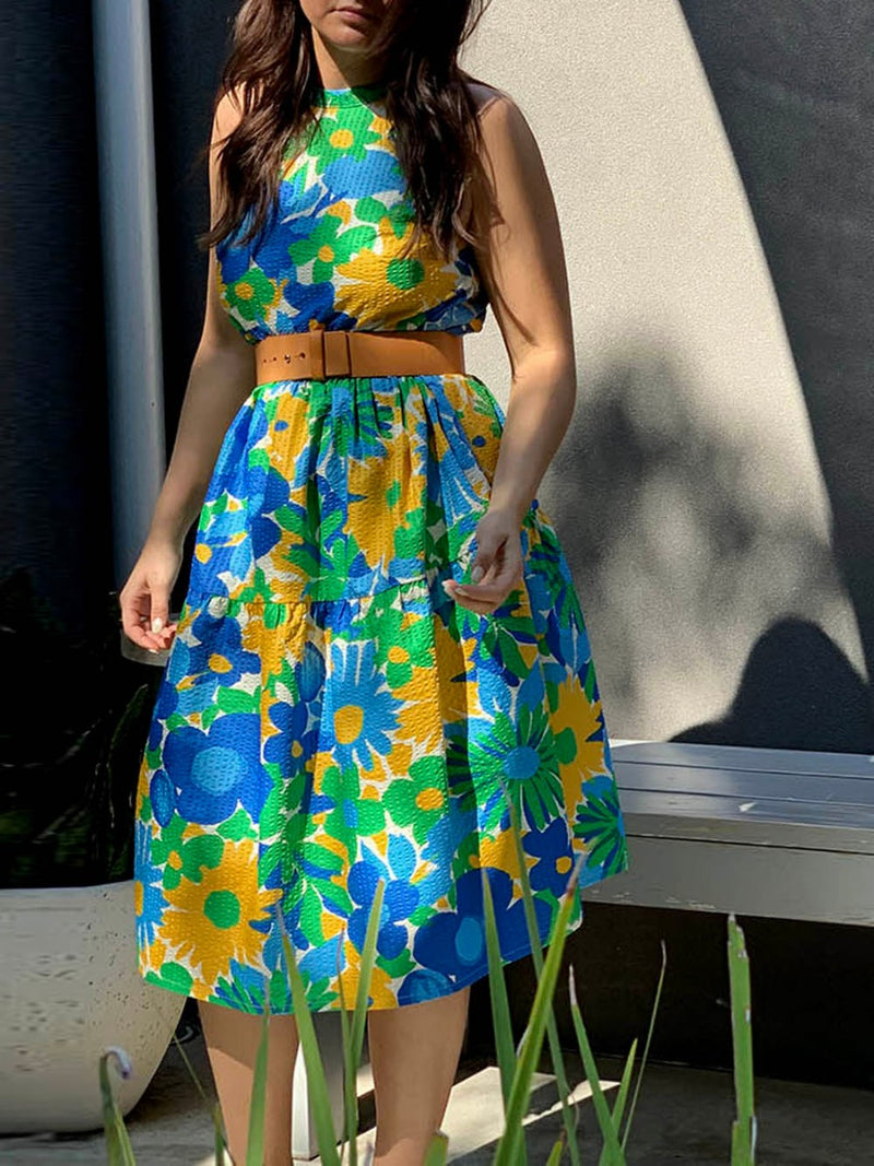 funkis maxine short dress blue and yellow floral
