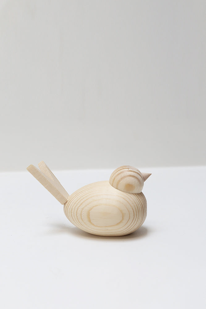 wooden bird 8cm natural