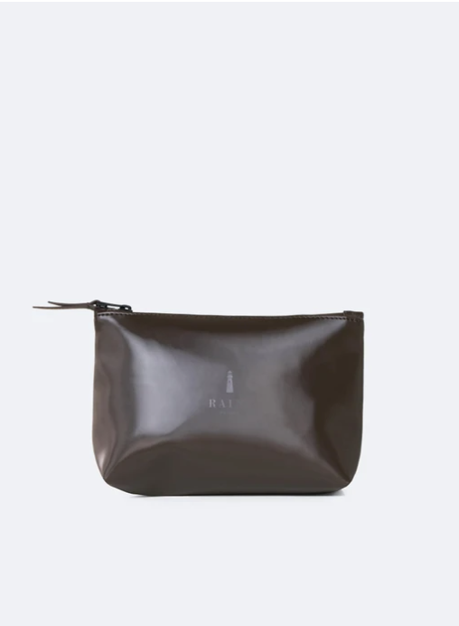 rains cosmetic bag shiny brown