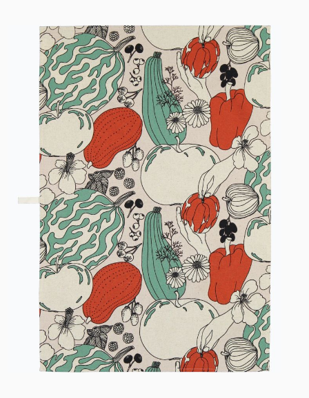 marimekko vihannesmaa kitchen towel red green