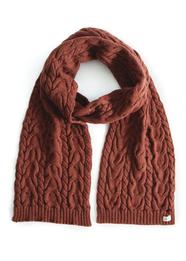 uimi valentina fancy cable scarf merino wool chestnut