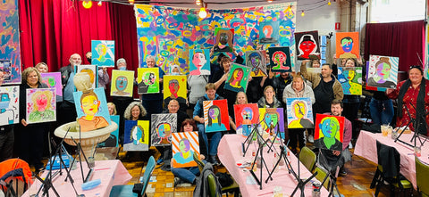 Corporate Paint and Sip, paint and wine, sip and paint, team building, team bonding activity
