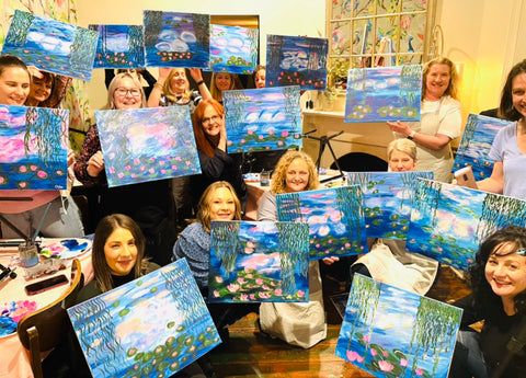 private paint and sip, girls night, hens celebration, paint party, corporate event, team bonding, private events Adelaide, Adelaide Hens, Paint and wine