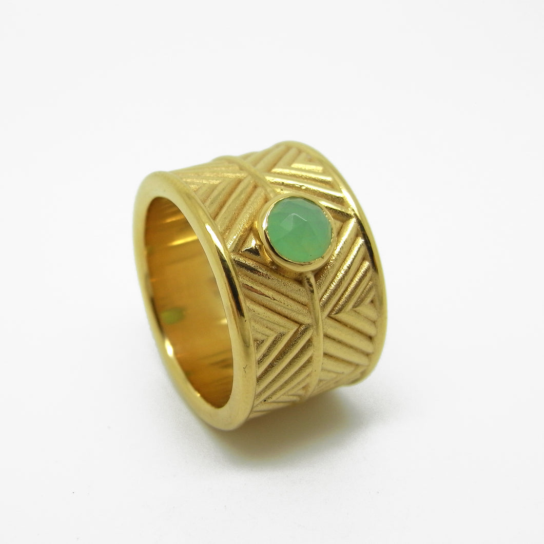 Gold Hoop with Chrysoprase Earrings (square profile)