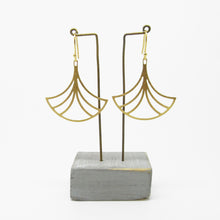 Load image into Gallery viewer, Gold Plated Large Fan Earrings