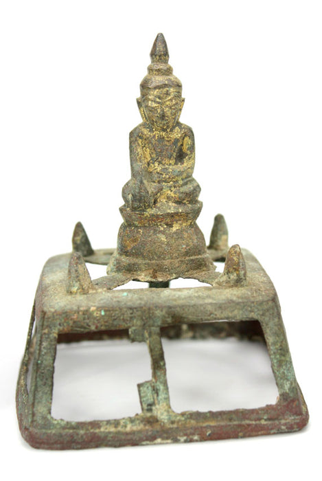 Bumese Miniature art: Burmese gilded bronze Buddha in the house of jewels, 18th-19th Century