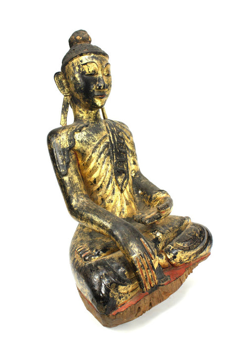 Burmese antique: An unusual and rare lacquered and gilt figure of a fasting Buddha, Burma