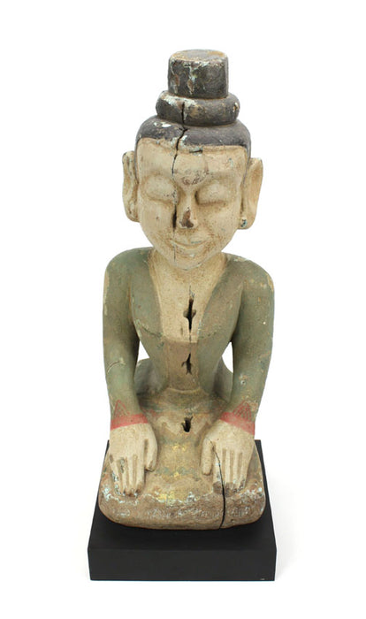 Antique Seated teakwood figurine, Burma