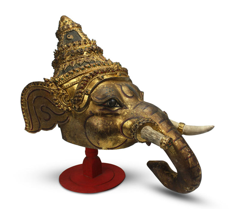 Antique Thai Khon Mask - Ganesh, Phra Pikanet