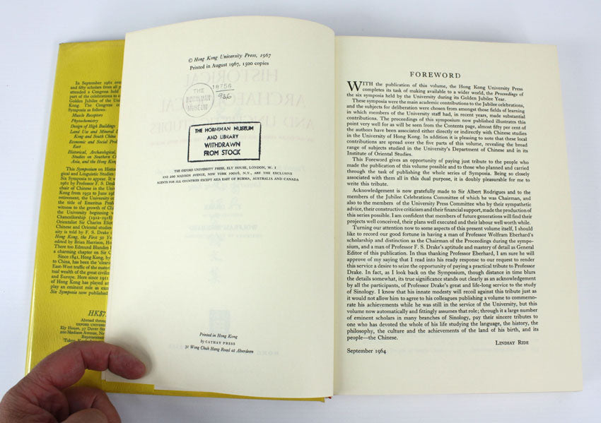 Symposium on Historical, Archaeological and Linguistic Studies, Limited edition, 1967