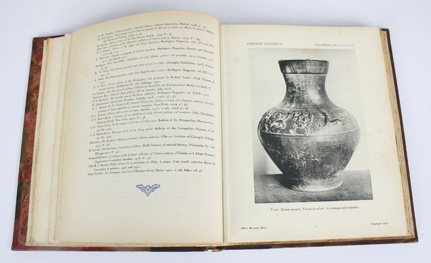 Chinese Ceramics, Documents D'art Louvre Museum, 2 volume leather set, by J J Marquet de Vasselot and Mlle M-J Ballot, 1922