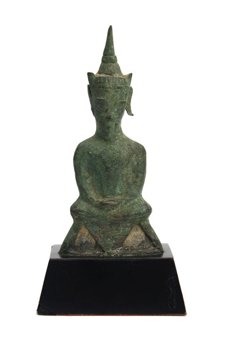 Thai antique Phra Ngang Ayuthaya bronze seated Buddha 16th 17th century