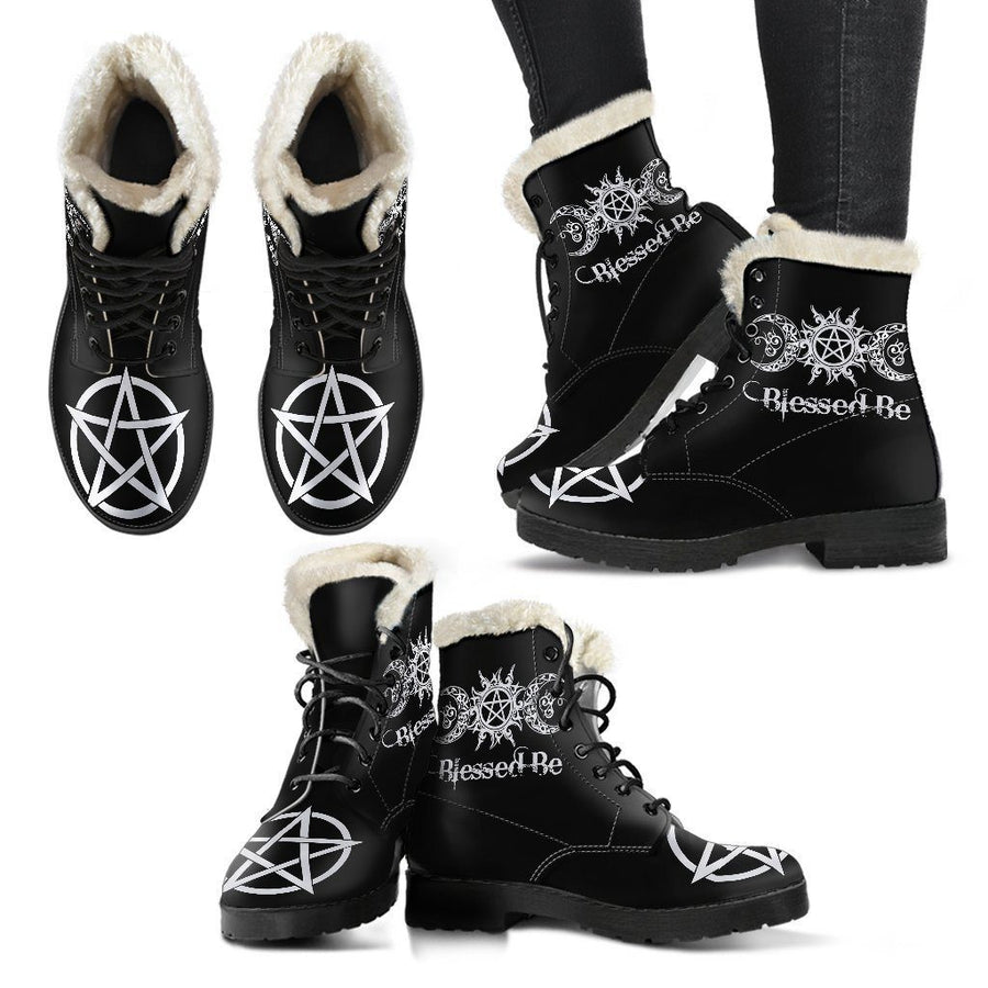 Blessed Be Faux Fur Leather Boots