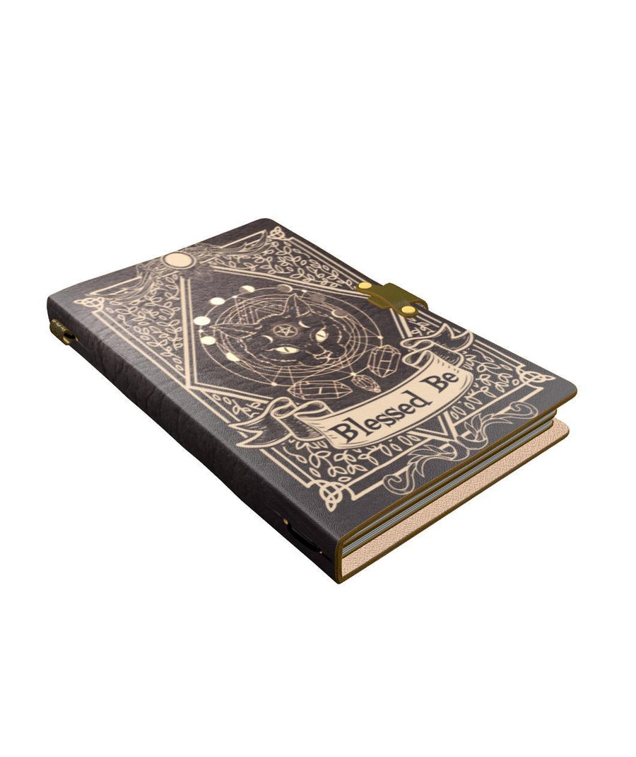 Cat blessed be wicca leather notebook