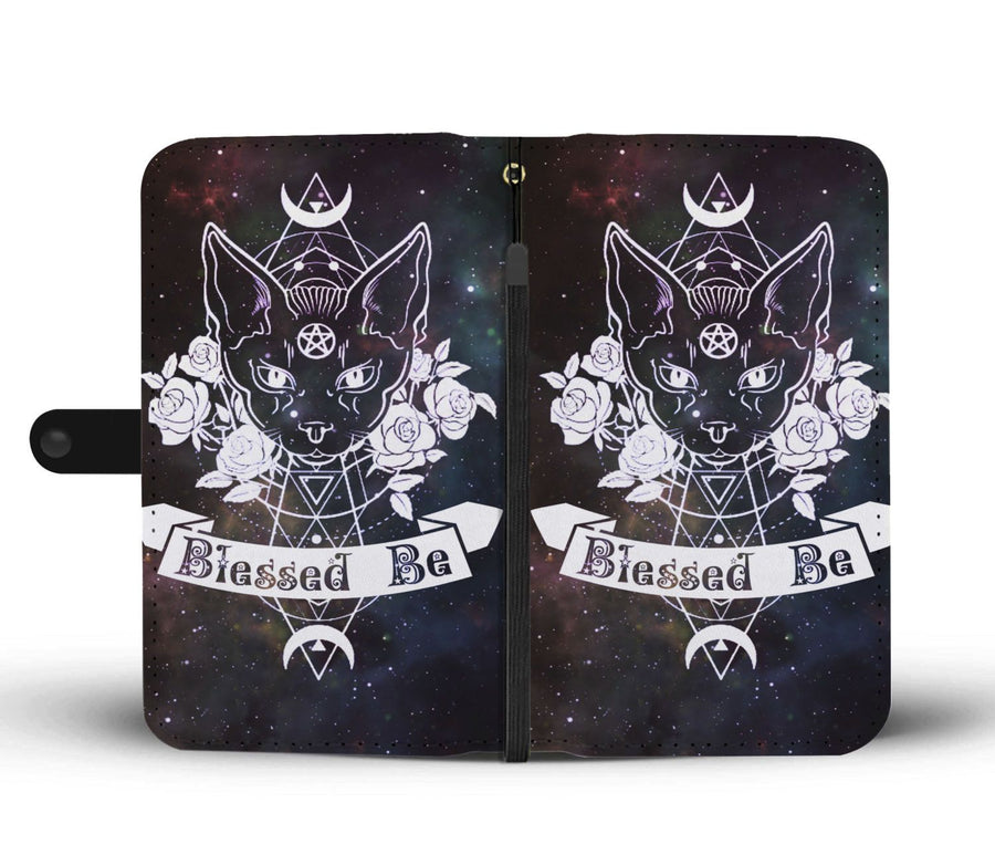 Wicca cat blessed be wallet case Wallet Case wc-fulfillment