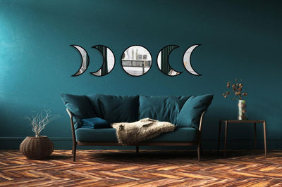 Witchy Moon phases wooden mirrors Tapestry MoonChildWorld