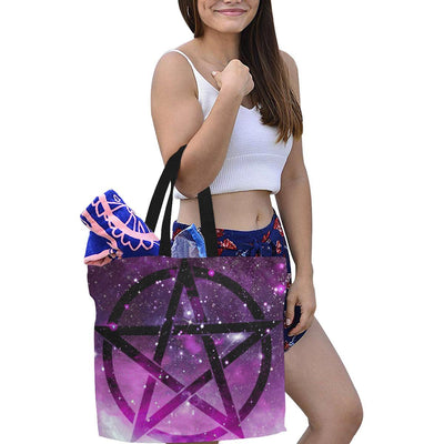 Pentacle wicca Tote Bag All Over Print Canvas Tote Bag/Large (1699) e-joyer