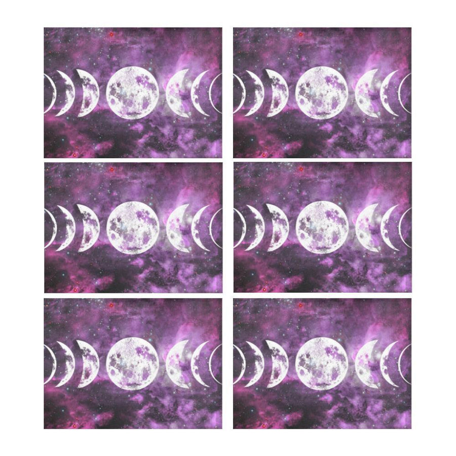 Moon phases wicca Placemat (6 Pieces) Placemat 14'' x 19'' (Six Pieces) e-joyer
